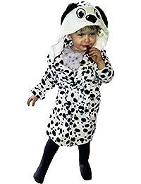 Childrens niños y niñas Animal Mullido Polar Mono o carlino o albornoz, diseño de dálmata en niños edad 2–11years- presente para amantes de los Perros