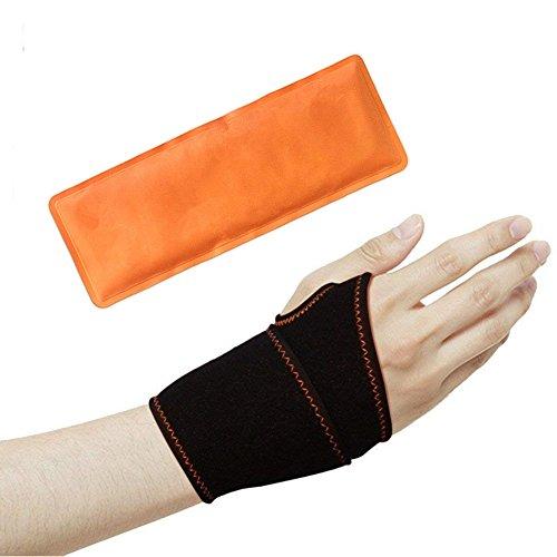 Handgelenkbandage Wrist Wraps für Kraft-Sport & Fitness , heiß - kalt kompression Handbandage reuable bei Sehnenscheidenentzündung & Karpaltunnelsyndrom | Damen & Herren, passt links & rechts | schwarz (Wrap Schwarz Handgelenk Links)