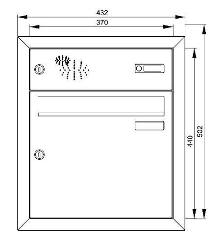 Max Knobloch Edelstahl Unterputzbriefkasten mit Klingel (12 Liter) UP11-110-E Edelstahl - 2