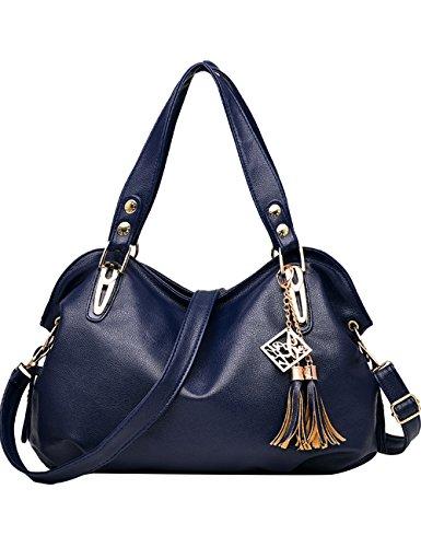 Menschwear Leather Tote Bag lucida PU nuove signore borsa a tracolla Marrone Blu