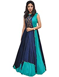 Unick Women's Heavy Banglori Silk Jacket Style Semi-stitched Sky Blue And Blue Floor Length Gown-Dresses (Twenty_Sky...