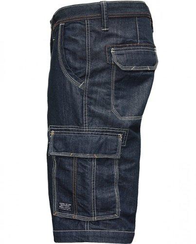 JACKS 50062DB short cargo bleu jeans délavé Bleu - Bleu