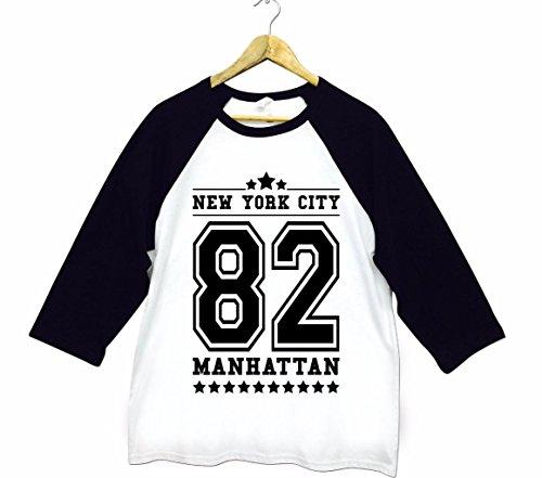 Herren New York City NYC 82 Manhattan American Football Baseball College Tri-Blend Sportliches 3/4 Arm T-Shirt Von Bella+Canvas Weiß & Schwarz XL (Baseball-t-shirt Bella)