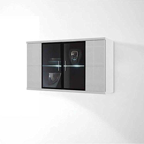 Hochglanz Wohnwand in Weiß Schwarz Beleuchtung (4-teilig) Mit weißer Beleuchtung Pharao24 - 3