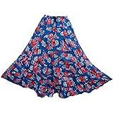 Mogul Interior Womens Retro Skirts Blue Printed Crinkle A-Line Flirty Festive Long Maxi Skirt