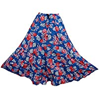 Mogul Interior Womens Retro Skirts Blue Printed Crinkle A-Line Flirty Festive Long Maxi Skirt