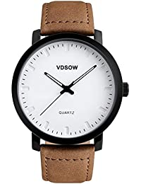 Mens Wrist Watches with Brown Leather Strap - Classic Big Face Analogue Quartz Watch, 3 ATM Waterproof Fashion Casual Business Dress Watches with Date Calendar Simple Design for Men by VDSOW