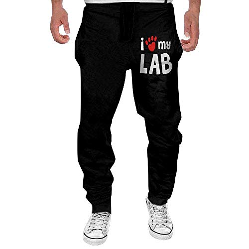 DearLord Men's Funny Sweatpants Print I Love My Lab Labrador 20 Fleece Open Bottom Pants