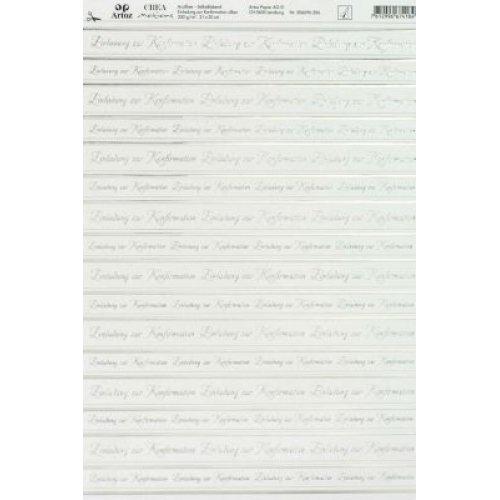 Artoz Paper AG - Kreativpapier selbstklebend Einladung zur Konfirmation silber