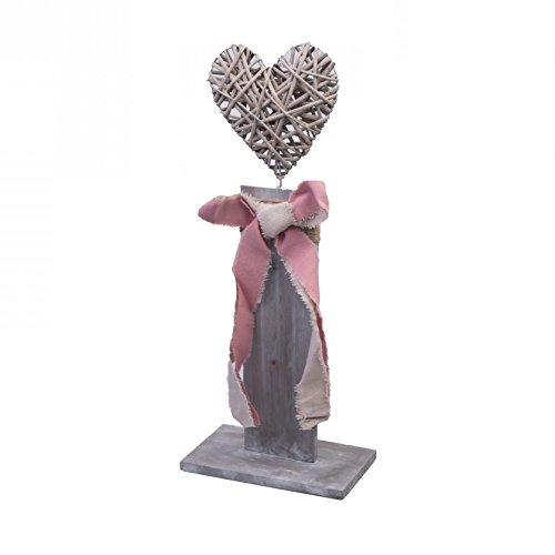 Mittleres Deko-Objekt aus Holz und Korb-Geflecht zum Stellen ~ Herz grau ~ 45cm ~ shabby Look