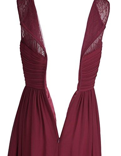 Tiaobug Damen Kleider festliche elegant Brautjungfer Abendkleid Hochzeit Cocktailkleid Chiffon Faltenrock langes kleid Gr. 34-46 Weinrot