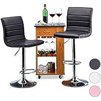Relaxdays Taburete Alto Cocina Regulable, Metal-Piel Sintética, Negro, 117 x 40 x 40 cm, 2 Unidades, Acero