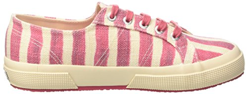 Superga Damen 2750-Linstripesw Niedrige Sneaker Multicolore (Off White/Dahlia)