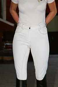 CATAGO culotte d'équitation pour femme jackie pantalon d'équitation fond de peau jeansreithose coton stretch blanc taille 76