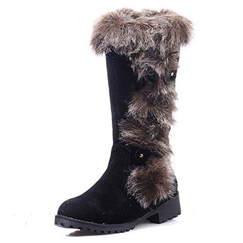 TAOFFEN Damen Winter Flache Lange Stiefel Mode Schnee Stiefel Mit Synthetik Fell Schwarz