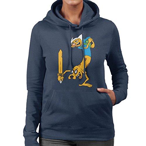 Cat Dog Adventure Time Women's Hooded Sweatshirt Navy Blue
