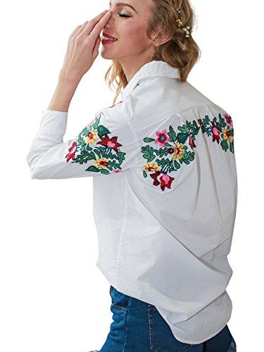 Simplee Apparel Damen Baumwolle Bluse Retro Blumen Stickerei Langarm Bluse Basic Blouse Shirts Streetwear Weiß Embroidery 2
