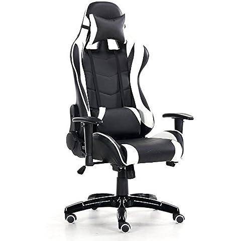 Atletica leggera home computer game racing sedile di prua sedia sedia sedia per ufficio sedia elettrica,Ares-sedia girevole bianco nero,lega di alluminio in piedi,ascensore rotante corrimano - Reclinabili Computer Sedie