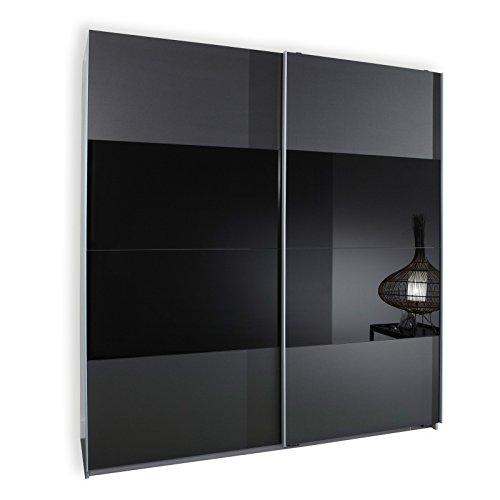Wimex 163771 Schwebetürenschrank 198 x 180 x 64 cm, Front anthrazit und Glas schwarz, Korpus Alu-Nachbildung