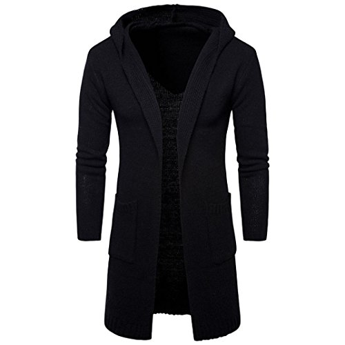Moonuy Homme d'hiver Slim Fit Hooded Tricot Chaud épais Pull Mode Casual Solid Couleur Cardigan Long Trench Manteau Streetwear Veste