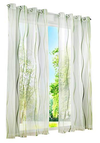 BAILEY JO 1er-Pack Gardinen mit Wellen Druck Design Vorhang Transparent Voile Vorhänge (BxH 140x225cm, grün mit Ösen)