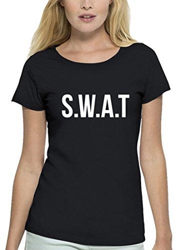 Fasching Karneval Premium Damen T-Shirt Bio Baumwolle SWAT Kostüm 1, Größe: (Swat Frauen Für Kostüme)