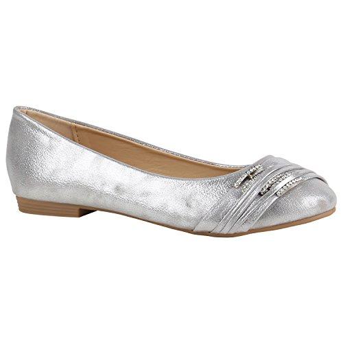 Klassische Damen Schuhe Ballerinas Strass Flats Modische Schuhe 156949 Silber Strass Avelar 40 Flandell (Ballerina Hübsche Schuhe)