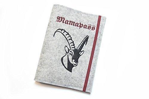 Sonderpreis - Mutterpasshülle aus grauem Wollfilz bestickt mit Steinbock + Mamapass