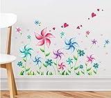 YUXAN Sticker Mural Moulin à Vent Chambre d'enfants Chambre canapé Fond XL6040