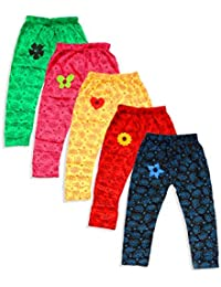 T2F Girls' Printed Leggings (Pack of 5, Black-Red-Green-Rose-Yellow)