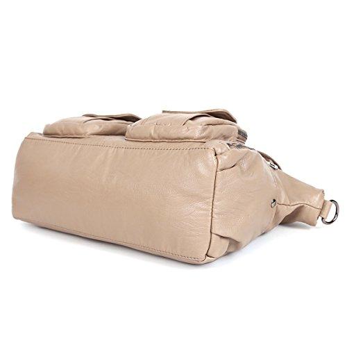21KBARCELONA  Top con zip multi tasche Borse Lavato Borse Borse a tracolla in pelle XS160735 Marrone