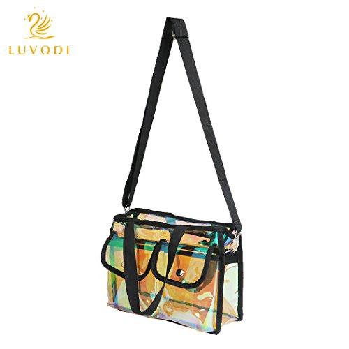 Luvodi trucco borsa da viaggio trasparente in pvc per cosmetici trasparente arcobaleno colore impermeabile make up sacchetto con spallacci regolabili scomparti