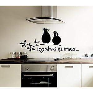 Grandora W5027 Wandtattoo Spruch Irgendwas ist immer + Vögel schwarz (BxH) 100 x 42 cm
