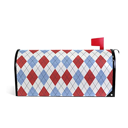 HEOEH Argyle Blue Red Geometry Magnetic Mailbox Cover Home Garden Decorations Oversized 63,5 x 5,8 cm 52.6x45.8cm Mehrfarbig Argyle-cover