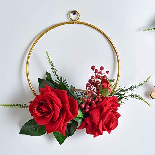 Yuhualiyi123 Multi-Stil kreative Wand Simulation Blume Wandbehang Schmiedeeisen Kranz Hochzeit Hanfseil hängen Blume Wanddekoration hängen 1 Satz -