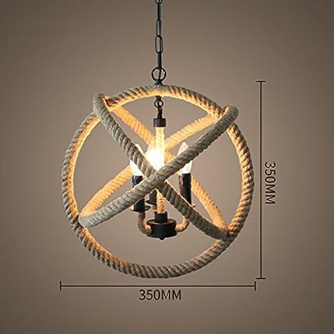 Araña Industrial Rural Industrial Lámpara de cáñamo de caña Creativa retro de hierro Loft Bar Café Lámpara de arte de la ropa ( Tamaño : A )