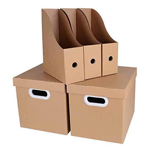 2pz scatole cartone con coperchio 3pz portariviste documenti carta kraft ufficio