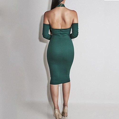 QIYUN.Z Frauen Halter-Ansatz Verband Hülse Bodycon Cocktail Rückenfreies Kleid Magie VD9012-Grün