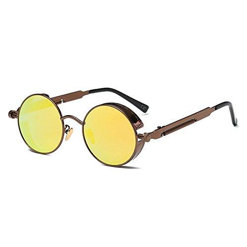 AMZTM Retro Punk Pequena Redondo Reflejado Reflexivo Amarillo Lentes Polarizadas Gafas de sol Para Mujer & Hombre