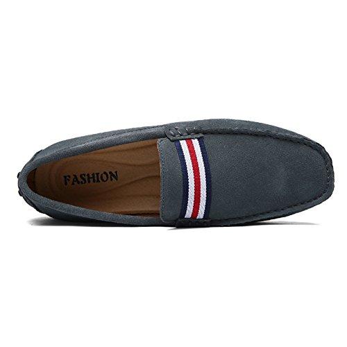 Jamron Hommes Élégant NATO-Stripe Conduite Flâneurs Chaussures Confort Fait Main Suède Mocassin Chaussons Gris