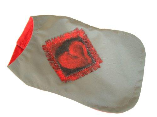 Bild: UNIKAT Sojoco Hunde Regenmantel Größe XXS grau wird mit Druckknöpfe geschlossen handgefertigtes Emblem auf Leinen Futter Seide 100  Brustumfang ca 27 cm Länge ca 195 cm