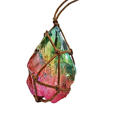 Naturstein Kristall Halskette Anhänger Handgewebte Quarz Fluorit Edelstein Heilstein Reiki Schutz Amulett für Frauen
