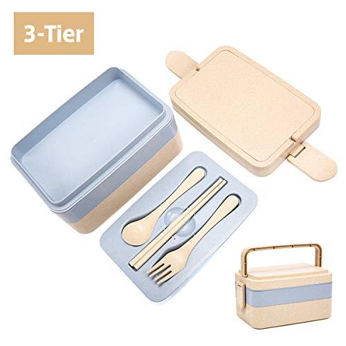 Pathonor Lunchbox 3 Layer mit Griff Bento Box kann in eine Mikrowelle, Kühlschrank Brotdose mit Besteck aus Weizenstroh, sicher und ungiftig, für Kindergarten ‖Schule ‖Büro ‖Camping ‖Reisen usw.