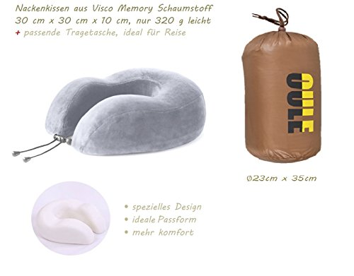 Nackenhörnchen Nackenstütze Nackenkissen aus Visco Memory Schaumstoff Orthopädisch Ergonomisch Für Flugreisen Zugfahren Autofahren oder Zuhause zum Entspannen inkl. gratis Tragetasche