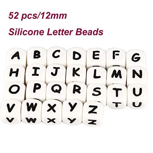 Dummy-Kette machen Ihre eigenen Silikon Buchstaben 12mm Mix 52pcs Kinderkrankheiten Perlen Kit personalisierte Name Baby Kinderkrankheiten Schnuller Clips DIY Bulk Set (custom, 52pack) - Perle-perlen-halsketten-bulk