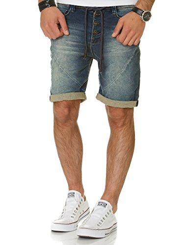 Sublevel Herren Jogg Jeans Shorts kurze Hose Bermuda Denim Sweatpants Joggjeans Vintage Used Look Dark Blue - H-1318/5KI16
