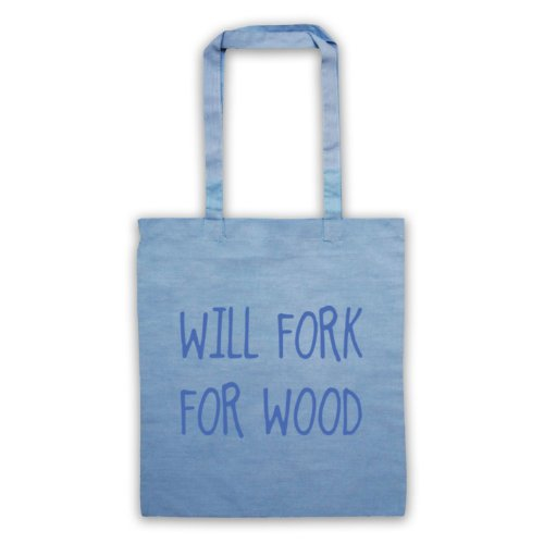 Will Forchetta per legno, scritta con Slogan divertente Borsa Azzurro