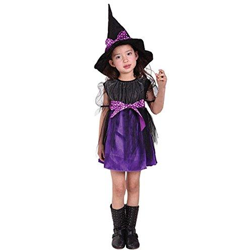 Rojeam Mädchen Kinder Hexe Kostüm Zubehör Fairy Halloween Cosplay Partei Abendkleid Halloween Kostüm (2-15 Jahre alt)
