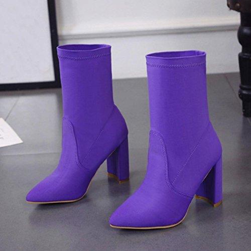 Donna Moda Tacco Alto Solido Stivali, Tefamore Le Signore Classico Tessuto Elastico Caviglia Stivali Viola