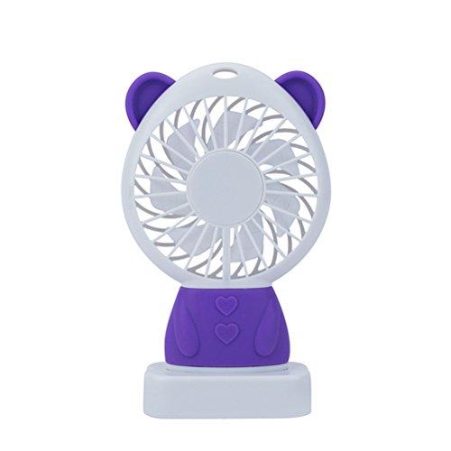 Kuke USB Ventilator mit LED Licht,Süß Bär Form,Mini Tragbar Fan für Büro, Zuhause und Heiße Sommeraußen Reisen für den Schreibtisch, Schlafzimmer, Camping Lila